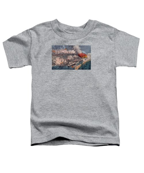 Admiral Farragut's Fleet Engaging The Rebel Batteries At Port Hudson Toddler T-Shirt by American School
