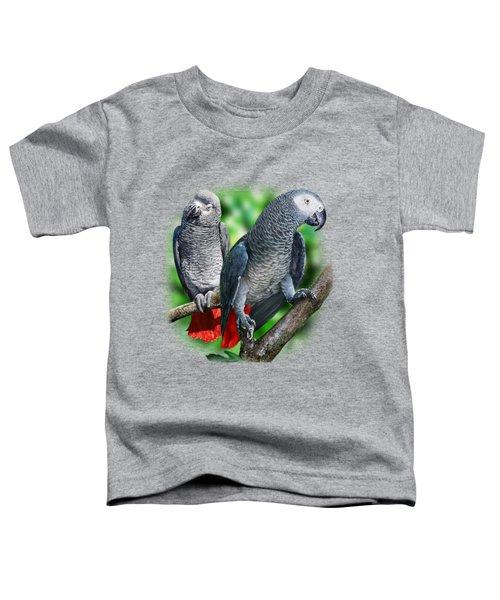 African Grey Parrots A Toddler T-Shirt by Owen Bell