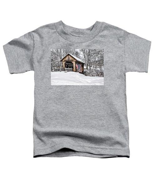 After A Winter Snow Storm Cilleyville Covered Bridge  Toddler T-Shirt