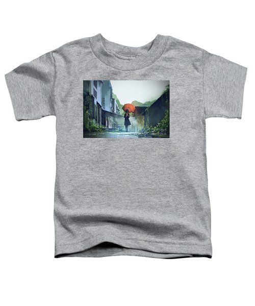 Toddler T-Shirt featuring the painting Alone In The Abandoned Town by Tithi Luadthong