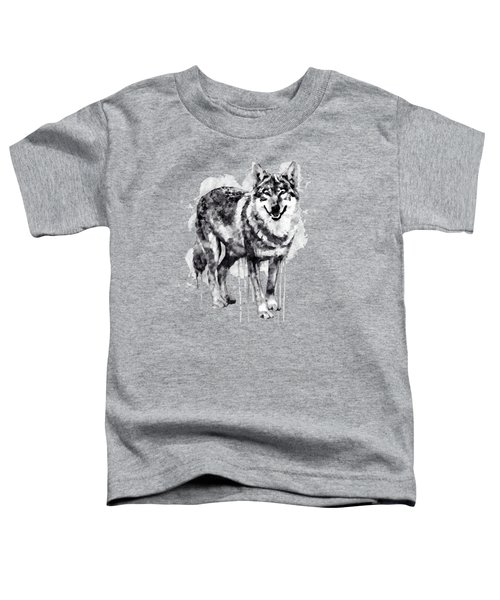 Alpha Wolf Black And White Toddler T-Shirt by Marian Voicu