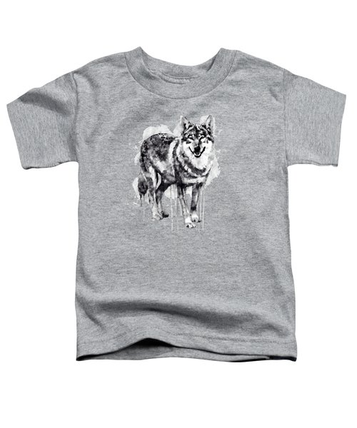 Alpha Wolf Black And White Toddler T-Shirt