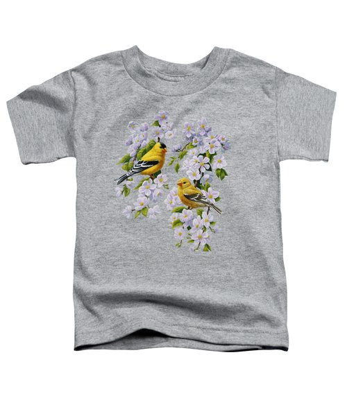 American Goldfinches And Apple Blossoms Toddler T-Shirt