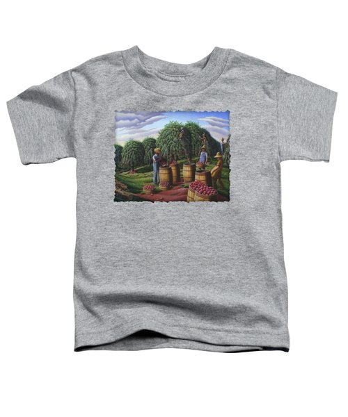 Apple Harvest - Autumn Farmers Orchard Farm Landscape - Folk Art Americana Toddler T-Shirt by Walt Curlee
