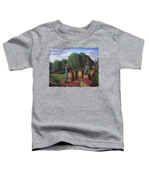 Apple Harvest - Autumn Farmers Orchard Farm Landscape - Folk Art Americana Toddler T-Shirt