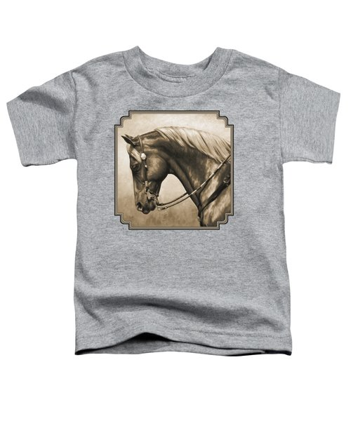 Western Horse Painting In Sepia Toddler T-Shirt by Crista Forest