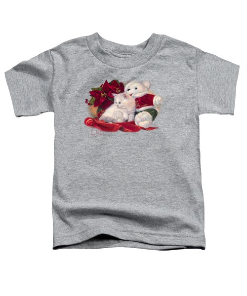 Christmas Kitten Toddler T-Shirt by Lucie Bilodeau