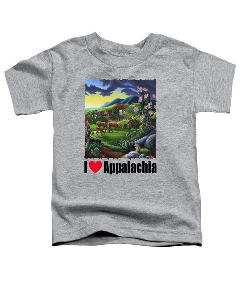 I Love Appalachia - Deer Chipmunk High Meadow Appalachian Landscape 1 Toddler T-Shirt