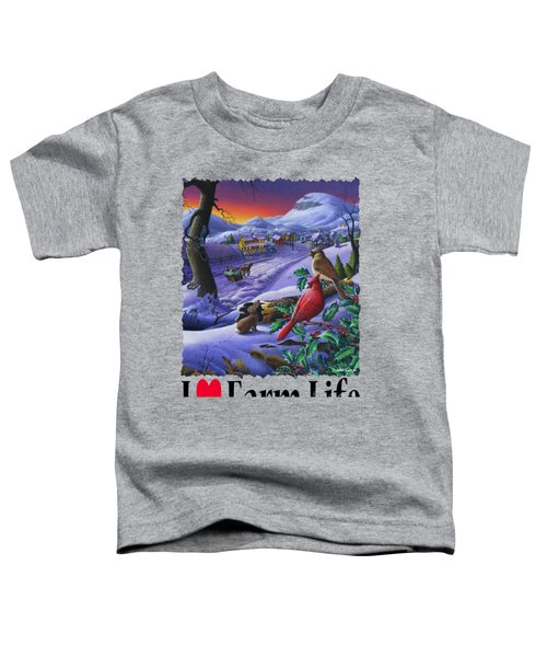 I Love Appalachia - Small Town Winter Landscape - Cardinals Toddler T-Shirt