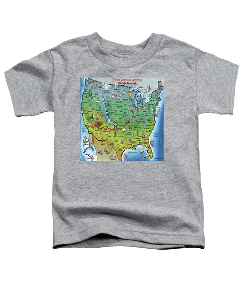 Historic Route 66 Cartoon Map Toddler T-Shirt