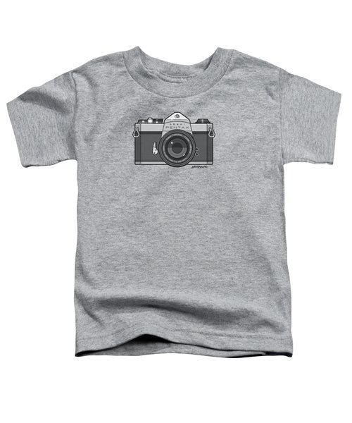 Asahi Pentax 35mm Analog Slr Camera Line Art Graphic Gray Toddler T-Shirt