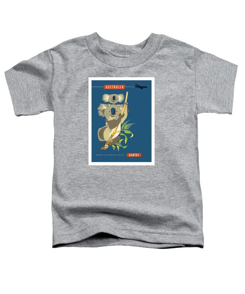 Australia Koala Bears Qantas Empire Airways Vintage Travel Poster Toddler T-Shirt
