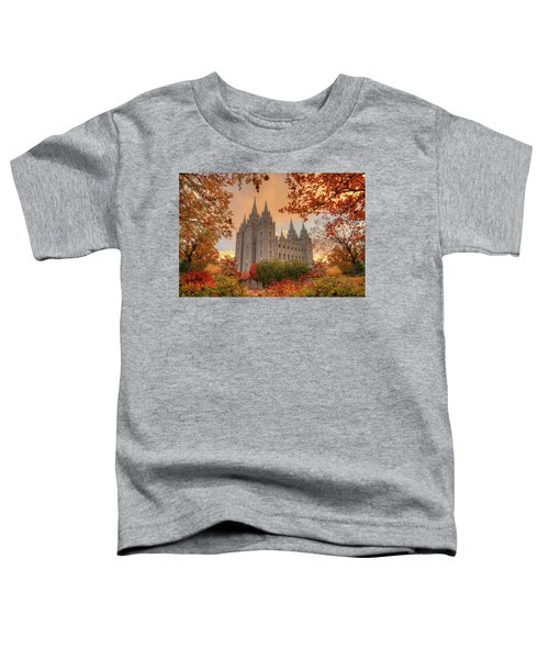 Toddler T-Shirt featuring the photograph Autumn At Temple Square by Dustin  LeFevre