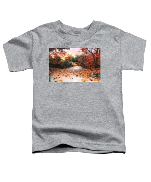 Toddler T-Shirt featuring the photograph Autumn In Discovery Lake by Alison Frank