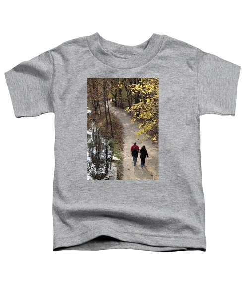 Autumn Walk On The C And O Canal Towpath With Oil Painting Effect Toddler T-Shirt
