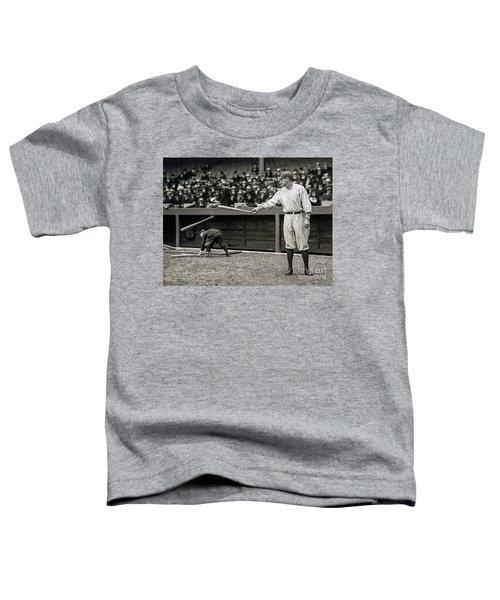 Babe Ruth At Bat Toddler T-Shirt by Jon Neidert