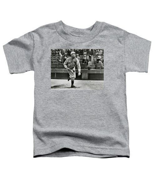 Babe Ruth - Pitcher Boston Red Sox  1915 Toddler T-Shirt by Daniel Hagerman
