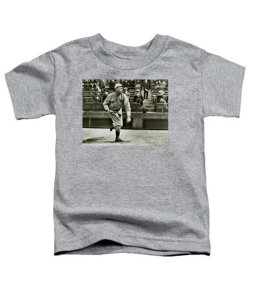 Babe Ruth Pitching Toddler T-Shirt by Jon Neidert