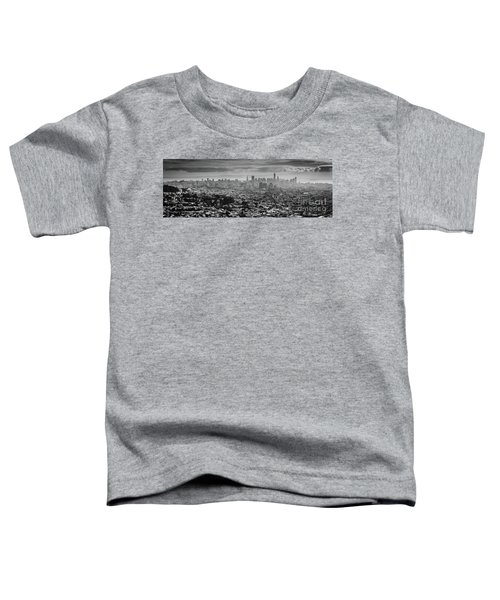 Back And White View Of Downtown San Francisco In A Foggy Day Toddler T-Shirt