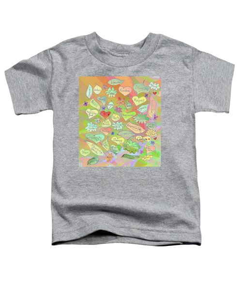 Back To The Garden Leaves, Hearts, Flowers, With Words Toddler T-Shirt