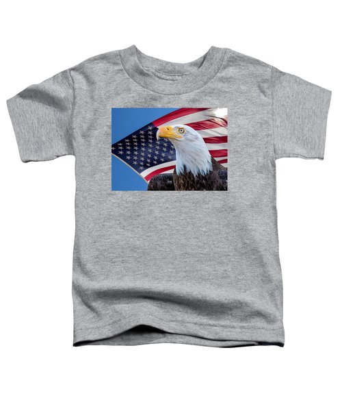 Bald Eagle And American Flag Toddler T-Shirt