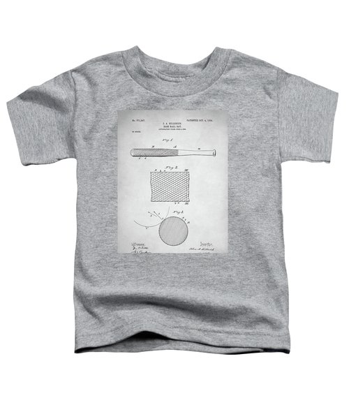 Baseball Bat Patent Toddler T-Shirt by Taylan Apukovska