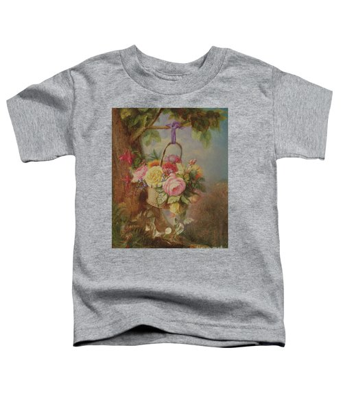 Basket Of Roses With Fuschia, 19th Century Toddler T-Shirt