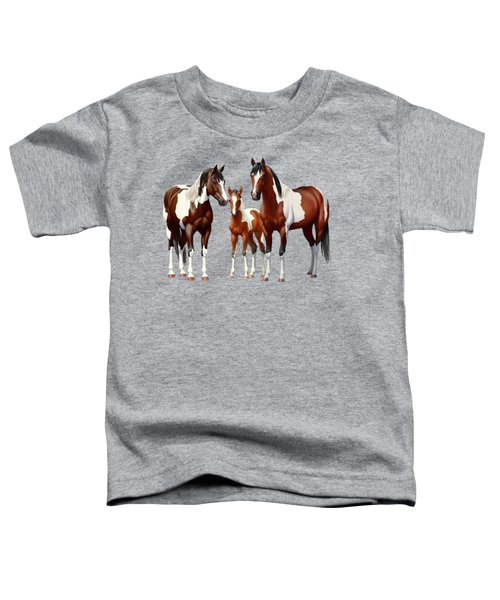 Bay Paint Horses In Winter Toddler T-Shirt