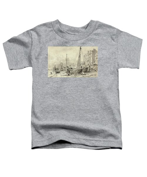 Beached Fishing Boats With Fishermen Mending Nets On The Beach At Brighton, Looking West Toddler T-Shirt