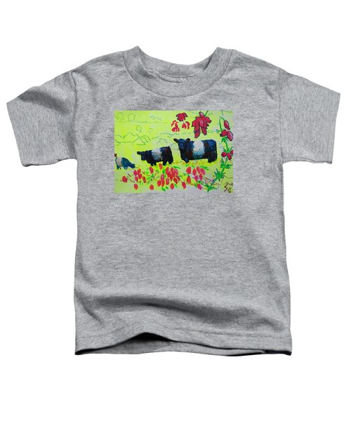 Belted Galloway Cows And Heather Illustration Toddler T-Shirt
