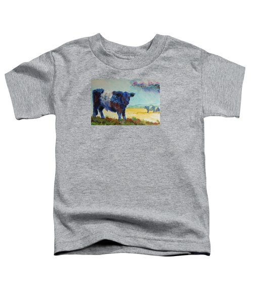 Belted Galloway Cows Painting - About To Rain Toddler T-Shirt