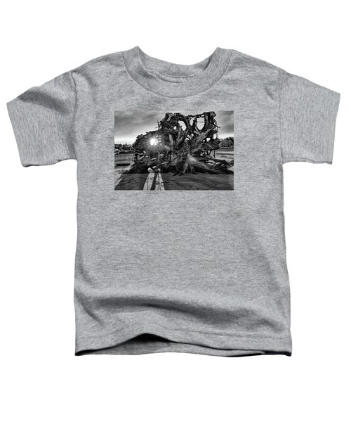 Big Tree On The Beach At Sunrise In Monochrome Toddler T-Shirt