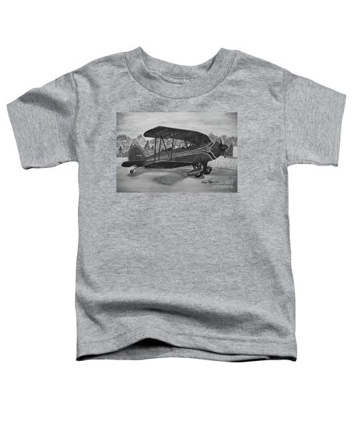 Biplane In Black And White Toddler T-Shirt by Megan Cohen