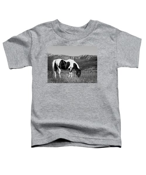 Black And White Horse Grazing In Wyoming In Black And White  Toddler T-Shirt