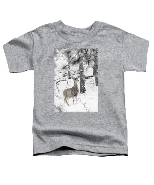 Black And White Mule Deer In Heavy Snowfall Toddler T-Shirt