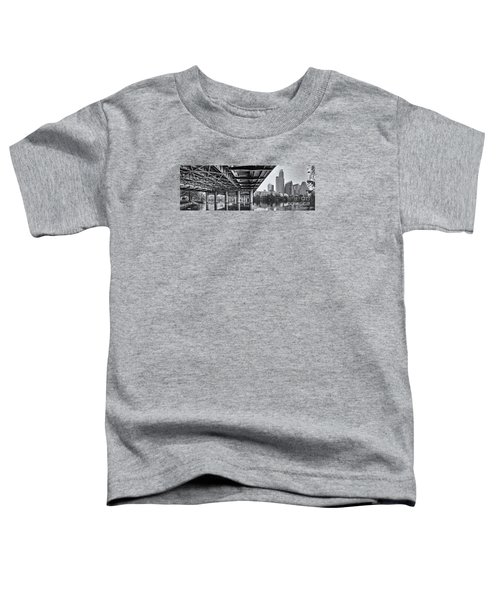 Black And White Panorama Of Downtown Austin Skyline Under The Bridge - Austin Texas  Toddler T-Shirt by Silvio Ligutti