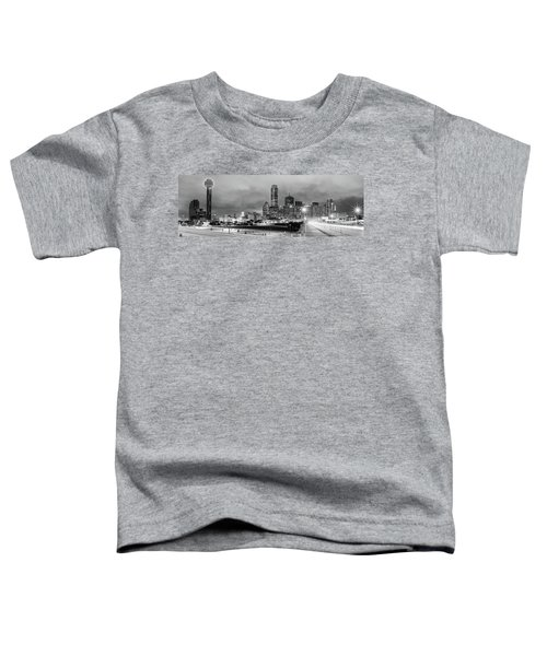 Black And White Panorama Of Downtown Dallas Skyline From South Houston Street - Dallas North Texas Toddler T-Shirt