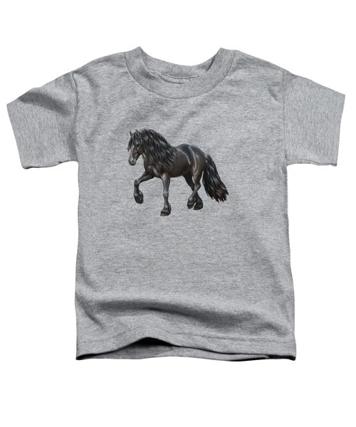 Black Friesian Horse In Snow Toddler T-Shirt by Crista Forest
