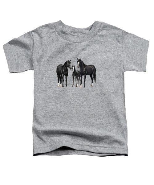 Black Horses In Winter Pasture Toddler T-Shirt