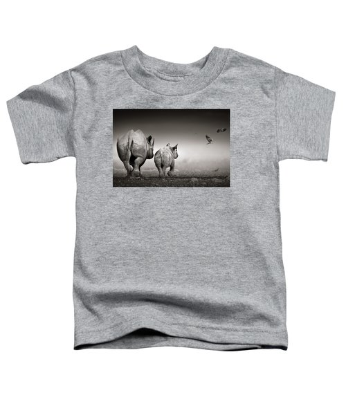 Black Rhino Cow With Calf  Toddler T-Shirt