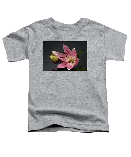 Blossoming Pink Lily Flower On Dark Background Toddler T-Shirt