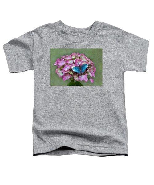 Blue Morpho Butterfly On Pink Hydrangea Toddler T-Shirt