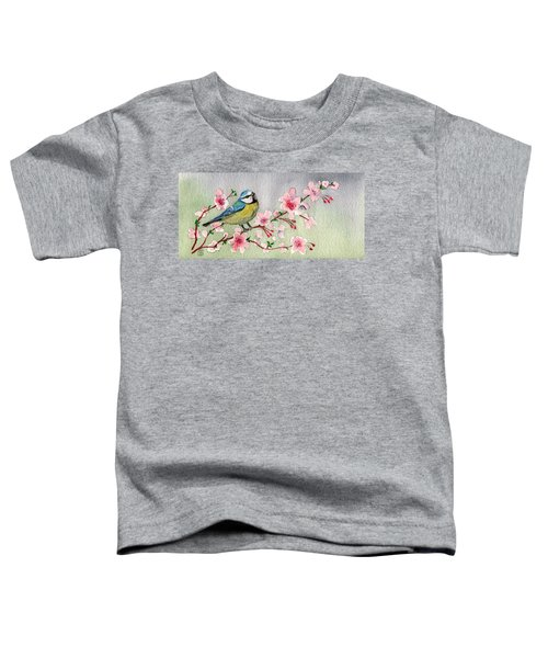 Blue Tit Bird On Cherry Blossom Tree Toddler T-Shirt
