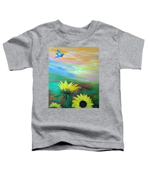Bluebird Flying Over Sunflowers Toddler T-Shirt
