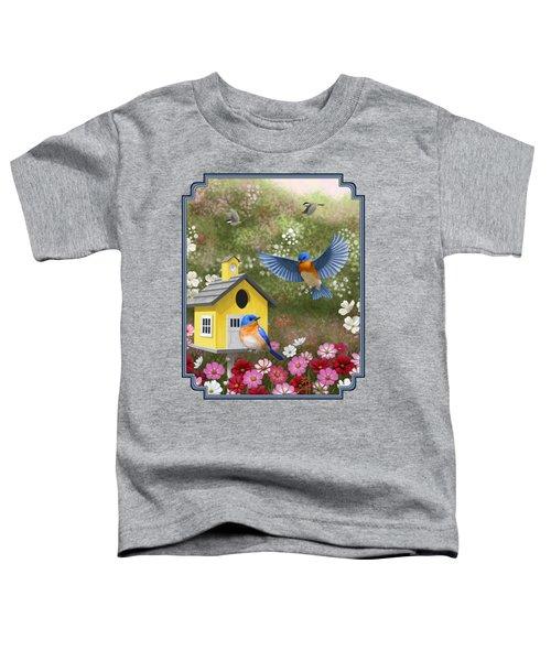 Bluebirds And Yellow Birdhouse Toddler T-Shirt