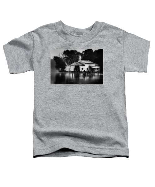 Toddler T-Shirt featuring the photograph Boathouse Bw by Bill Wakeley