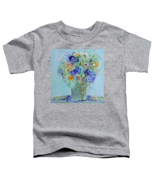 Toddler T-Shirt featuring the painting Bouquet Of Blue And Gold by Joanne Smoley