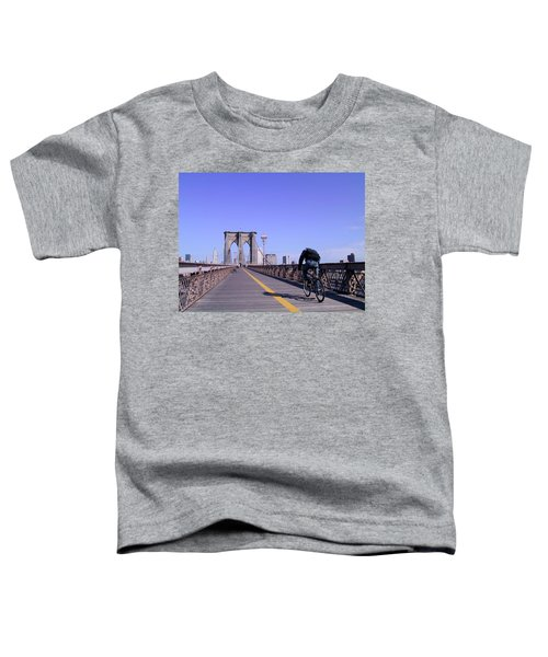 Brooklyn Bridge Bicyclist Toddler T-Shirt