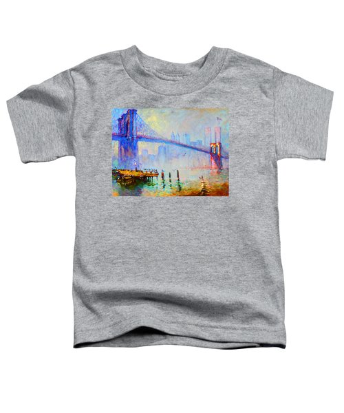 Brooklyn Bridge In A Foggy Morning Toddler T-Shirt by Ylli Haruni