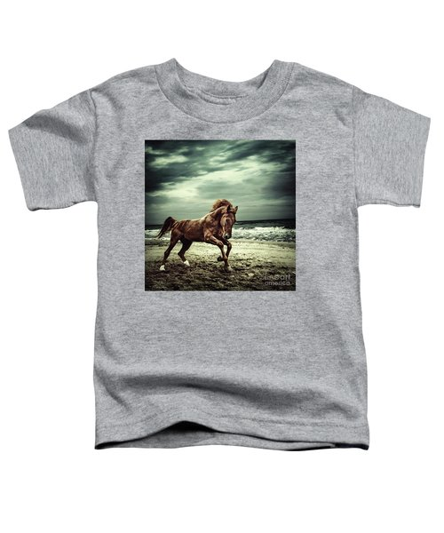 Brown Horse Galloping On The Coastline Toddler T-Shirt